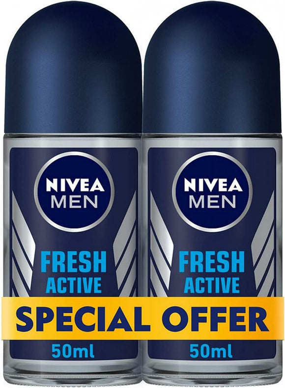 NIVEA, MEN DEODORANT, FRESH ACTIVE, ROLL-ON, 2 x 50 ML