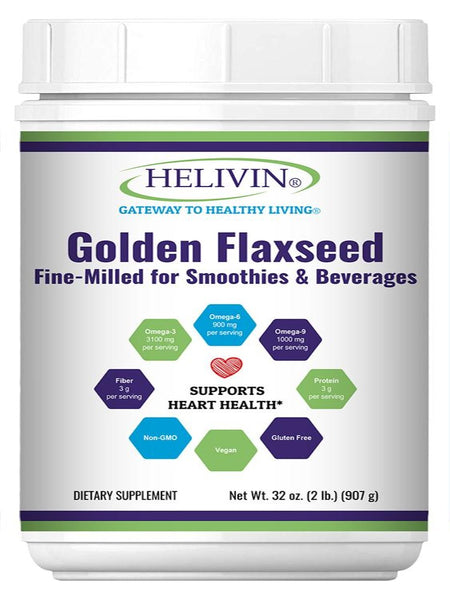 Helivin Golden Flaxseed – Fine Milled for Smoothies & Beverages – 32 oz. (2 lb.)