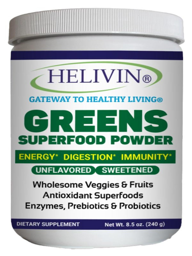 Helivin Greens Superfood Powder - Natural Raw Plant Nutrition with Superfoods, Antioxidants, Digestive Enzymes, Fiber, Prebiotics and Probiotics