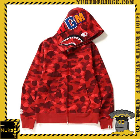Bape Full Zip Hoodie Red Shark WGM Color Camo New in Bag with Tags