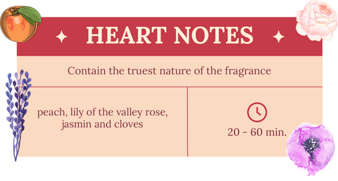 Heart notes of Heaven in a Bottle attar, peach, lily of the valley rose, jasmin and cloves. Contains the truest nature of the fragrance