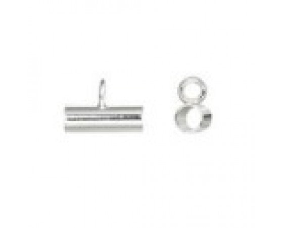Tube with Ring - Sterling Silver - 2.8mm x 8mm - 1 piece