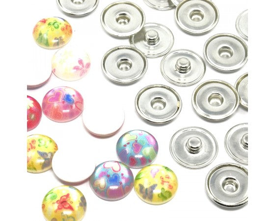Buttons - Snap - Metal and Resin - 18mm - 5 sets