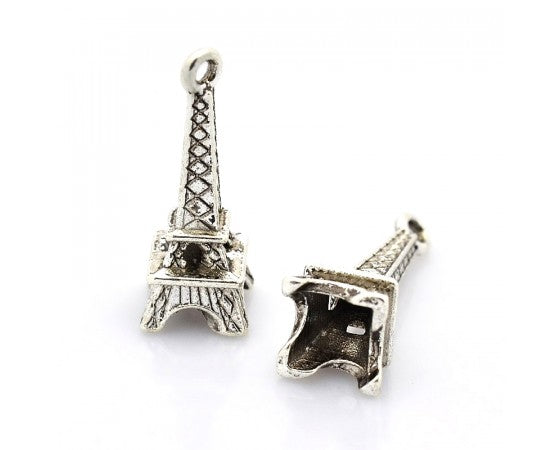 Charms - Eiffel Tower - 23mm x 8mm - 10 pieces - Antique Silver