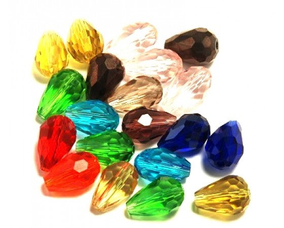 Glass - Drop (Faceted) - 12mm x 8mm - 20 pieces
