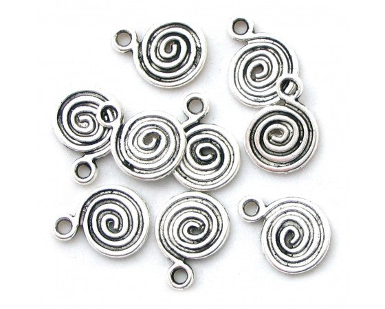 Charms - Spiral - 14mm x 18mm - 10 pieces - Antique Silver