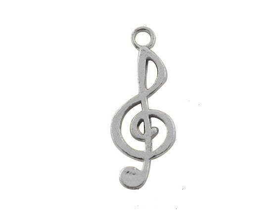 Charms - Treble Clef - 26mm x 10mm - 10 pieces - Antique Silver