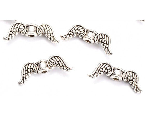 Metal - Angel Wings - 18mm x 6mm - 20 pieces - Antique Silver