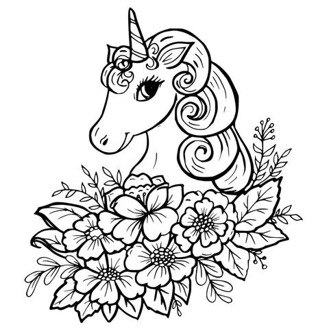 colouring unicorn and flowers