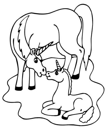 colouring unicorn and its baby