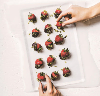 CHOCOLATE DIPPED STRAWBERRIES WITH BASIL SUGAR