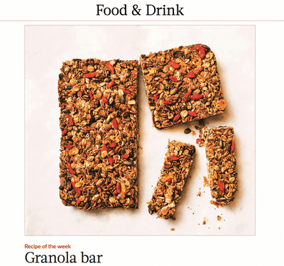 THE WEEK MAGAZINE- RECIPE OF THE WEEK. MUMS GRANOLA BAR