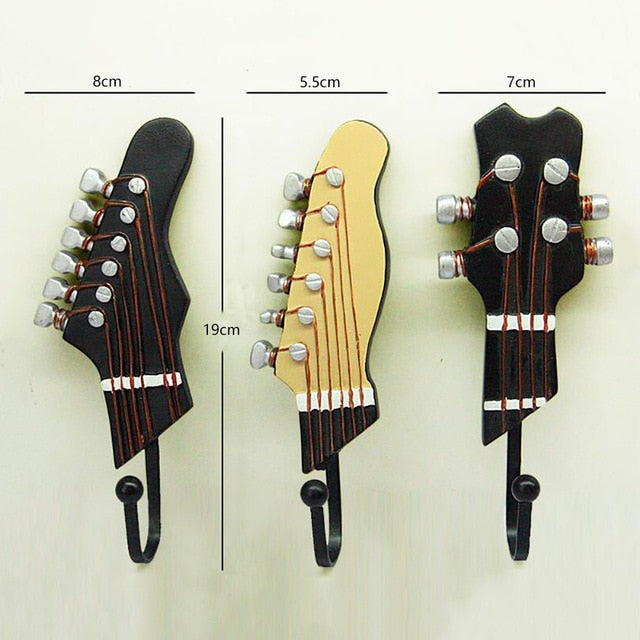 Guitar Head Resin Hooks (Clothes, Hat, Keys) Hanger Wall Mounted - 3 PCS/Set