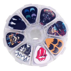 50pcs Guitar Picks Rock Bands or Celebrities & Clear Case