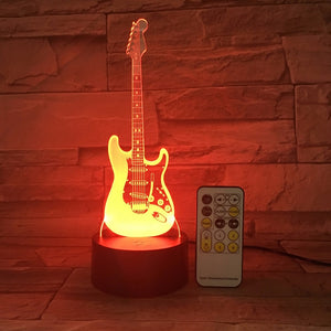 Guitar Night Light 3D LED Lamp 7 Color Change Led USB Touch Control Switch Indoor Lamp with Remote Control