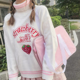 Cute Strawberry Embroidered Loose Sweater Women's Sweaters Japanese Kawaii Ulzzang Female Korean Harajuku Clothing For Women