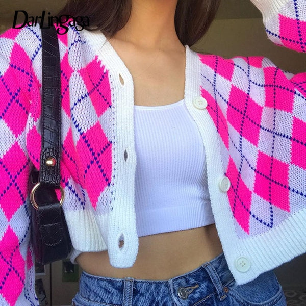 Darlingaga Fashion Pink Argyle Plaid Autumn Cardigan Women Sweater Buttons y2k Vintage Cropped Cardigans Coat Knitted Sweaters
