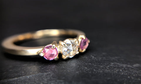 Custom Engagement Ring Yellow Gold Rose Cut Diamond and Pink Sapphires