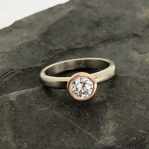 Custom Engagment Ring Recycle Gold Moissanite The Smithery