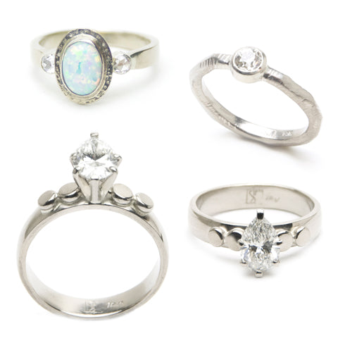Custom Engagement Rings Recycled Gold Diamond and Opal