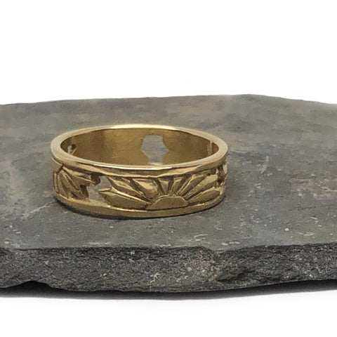 Custom Ring Recycled Yellow Gold Floral Design