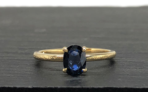 Custom Engagement Ring Yellow Gold and Sapphire The Smithery