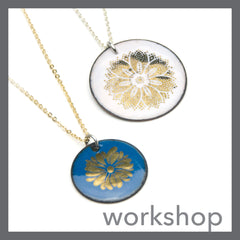 Gold Floral decal Enamel Necklace class