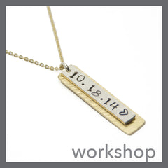 Layered Customizable Necklace stamped and hammer textured personalized pendant.