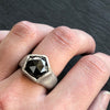 Saga Geo Textured Ring - Hematite & Sterling