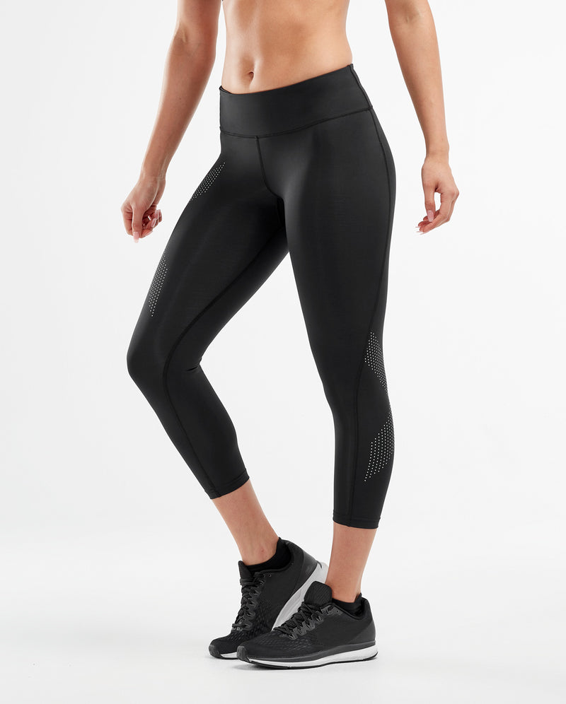Black 2XU Mide Rise Text Womens 7//8 Compression Tights