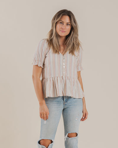 WOMEN'S MADDY BLOUSE / MULTI STRIPE
