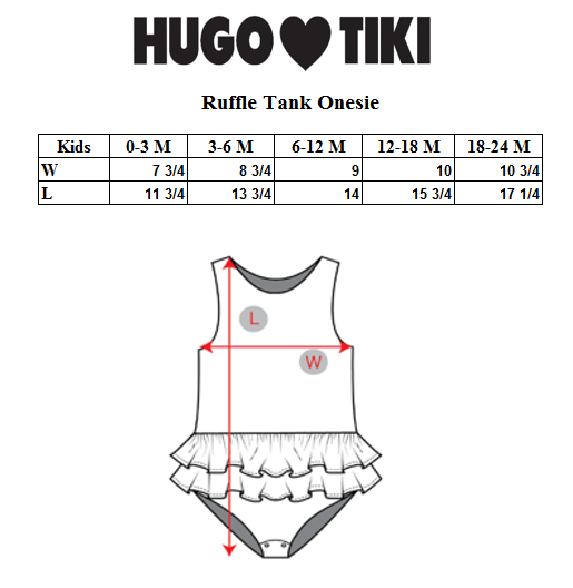 HUGO LOVES TIKI RUFFLE TANK ONESIE / GREEN HEARTS
