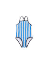 TINY COTTONS STRIPES SWIMSUIT / STONE + CERULEAN BLUE