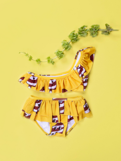 HUGO LOVES TIKI RUFFLE BIKINI / YELLOW ICE CREAM