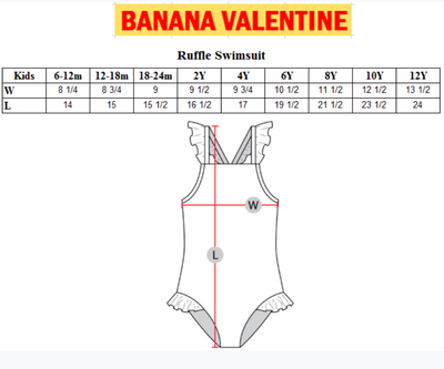 BANANA VALENTINE RUFFLE SWIMSUIT / STRIPES PURPLE