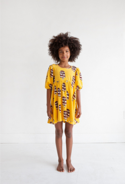 HUGO LOVES TIKI TERRY PUFF SLEEVE DRESS / ICE CREAM YELLOW