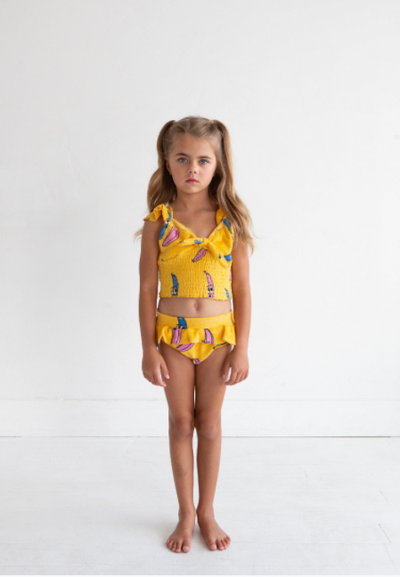 HUGO LOVES TIKI TERRY CROP TOP / BANANA YELLOW