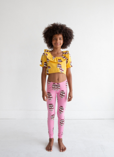 HUGO LOVES TIKI WOVEN RUFFLE CROP TOP / ICE CREAM YELLOW