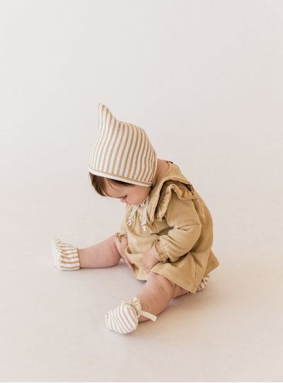QUINCY MAE BABY BOOTIES / HONEY STRIPE