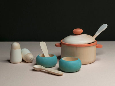 HANDMADE Wooden KITCHEN set / PEACH OUTLINE