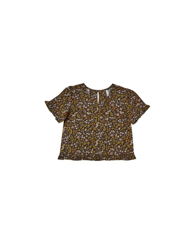 RYLEE + CRU DARK FLORAL RORY TOP / VINTAGE BLACK