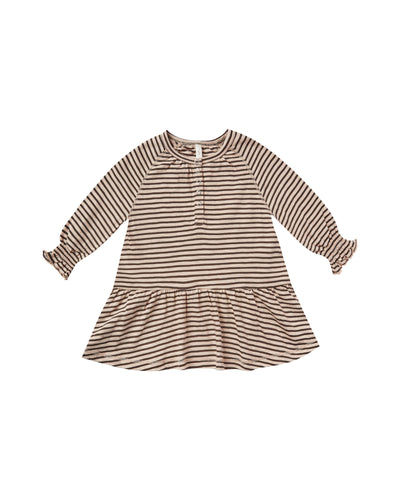 RYLEE + CRU STRIPE SWING DRESS / OAT BLACK