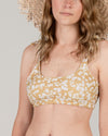 RYLEE + CRU WOMEN'S scattered daisy knotted bikini top / CITRON