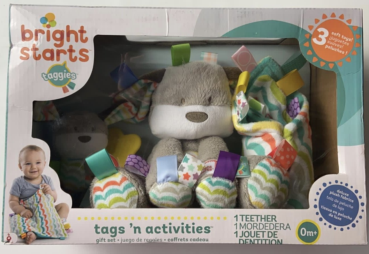Taggies Bright Starts Tags'n Activities Baby Gift Set New