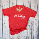 Be Kind red crew neck tee