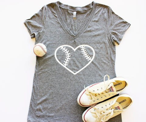 V-Neck - Baseball Heart
