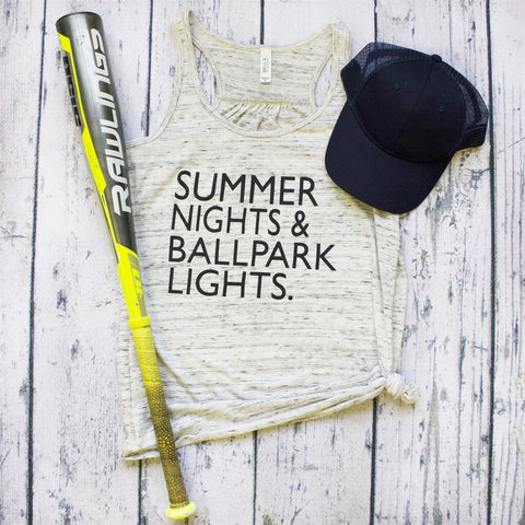 Tank Top - Baseball Summer Nights