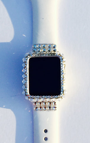 Band and quick snap case for 32mm apple watch with hand placed Swarovski detail - Harriet & Hazel  - 1