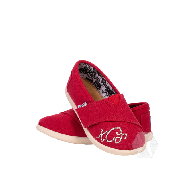 Tiny Canvas Toms with Swarovski Crystal Monogram by Harriet & Hazel - Harriet & Hazel  - 1