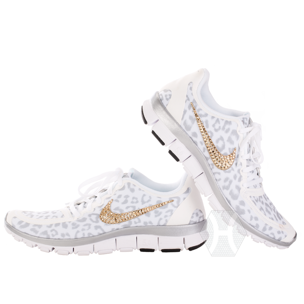 newest a51c6 b9fe7 Nike Free 5.0v4 White/Wolf Gray/Metallic Silver Cheetah Gold Crystals